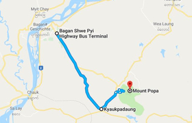 Google Map Bagan Popa Myanmar