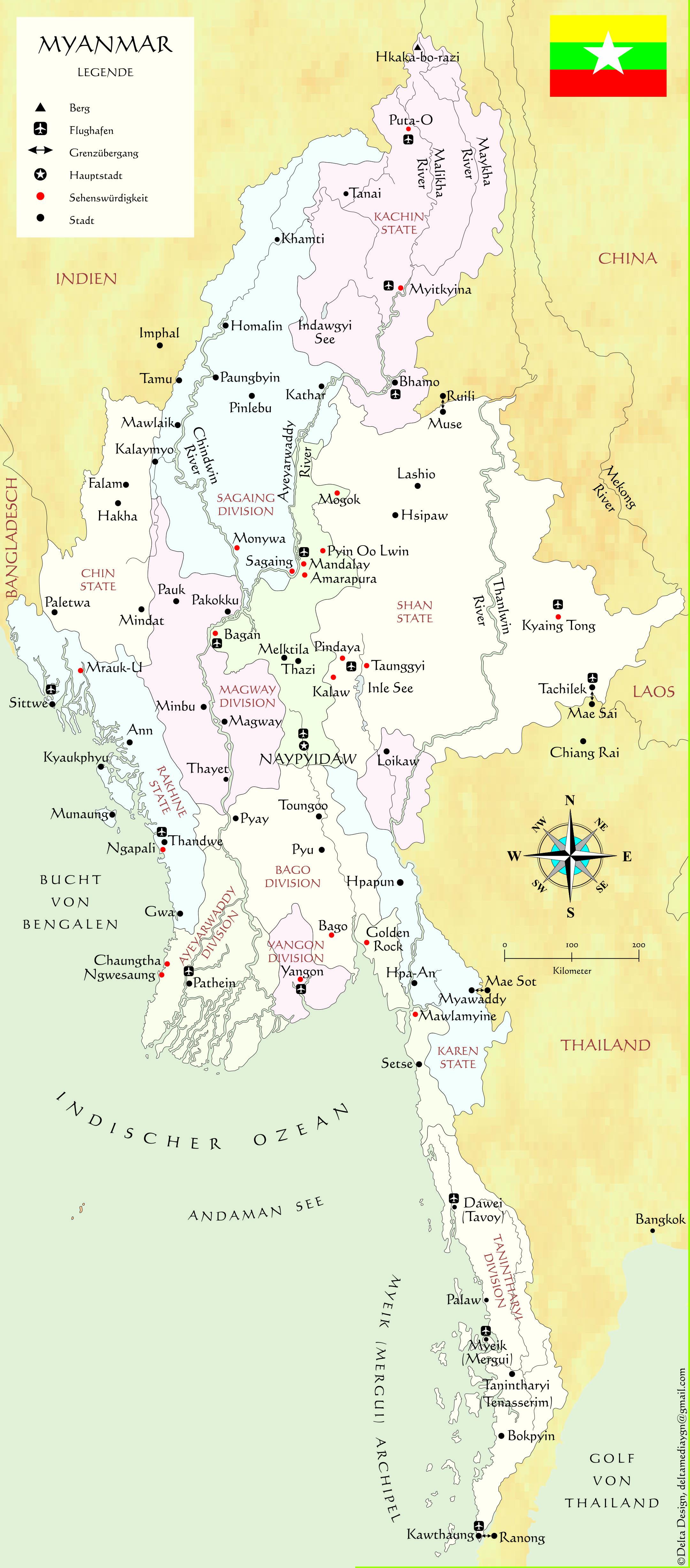 Karten Landkarten Von Myanmar